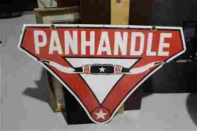 Porcelain Panhandle Gasoline Bull Horn Sign SS