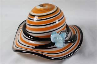 BLOCK CRSYSTAL HAND BLOWN HAT CANDY DISH / BOWL