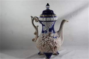 NORLEANS FOOTED COBALT PITCHER W/ LID
