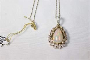 14k Gold 6 carat Opal and Diamond Necklace
