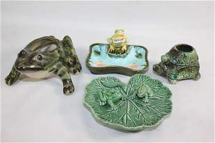 LOT OF CERAMIC FROG PLANTERS/TRINKET DISHES