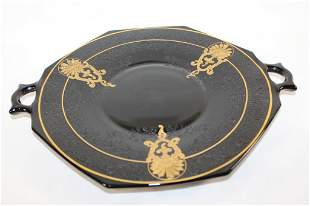 BLACK AND GOLD HANDLED PLATE