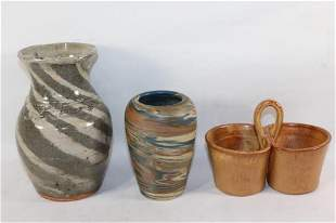 3 PC. POTTERY LOT SIGNED/STAMPED