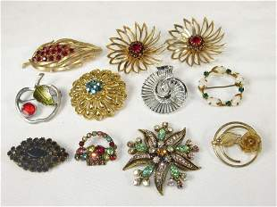 Lot of Signed Vintage Costume Brooches/Pins