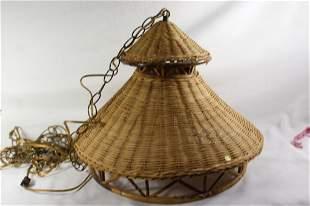 Vintage WICKER HANGING LAMP