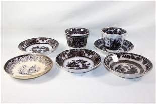 7 PC FLOW MULBERRY SAUCERS-IRONSTONE, ETC.