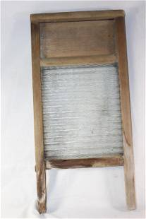 VINTAGE WASH BOARD GLASS WITH WOOD FRAME
