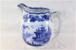 ANTIQUE ROYAL DOULTON FLOW BLUE MADRAS PITCHER