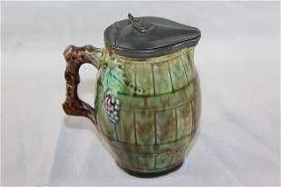MAJOLICA CREAMER PITCHER W/ METAL FITTED LID