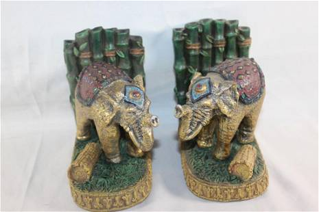 PAIR OF ELEPHANT & BAMBOO BOOK ENDS.