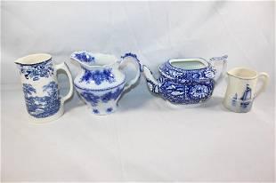 4 PC. FLOW BLUE CHINA SET- GRINDLEY, ETC