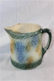 ANTIQUE AMERICAN COUNTRY PITCHER MAJOLICA GRAPES