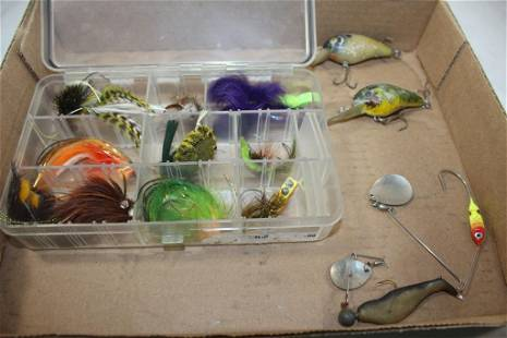 13 PC. VINTAGE FISHING LURE LOT- FLY, SPINNER,ETC