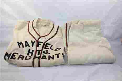 MAYFIELD HITS. MERCHANT WOOL BASEBALL UNIFORM