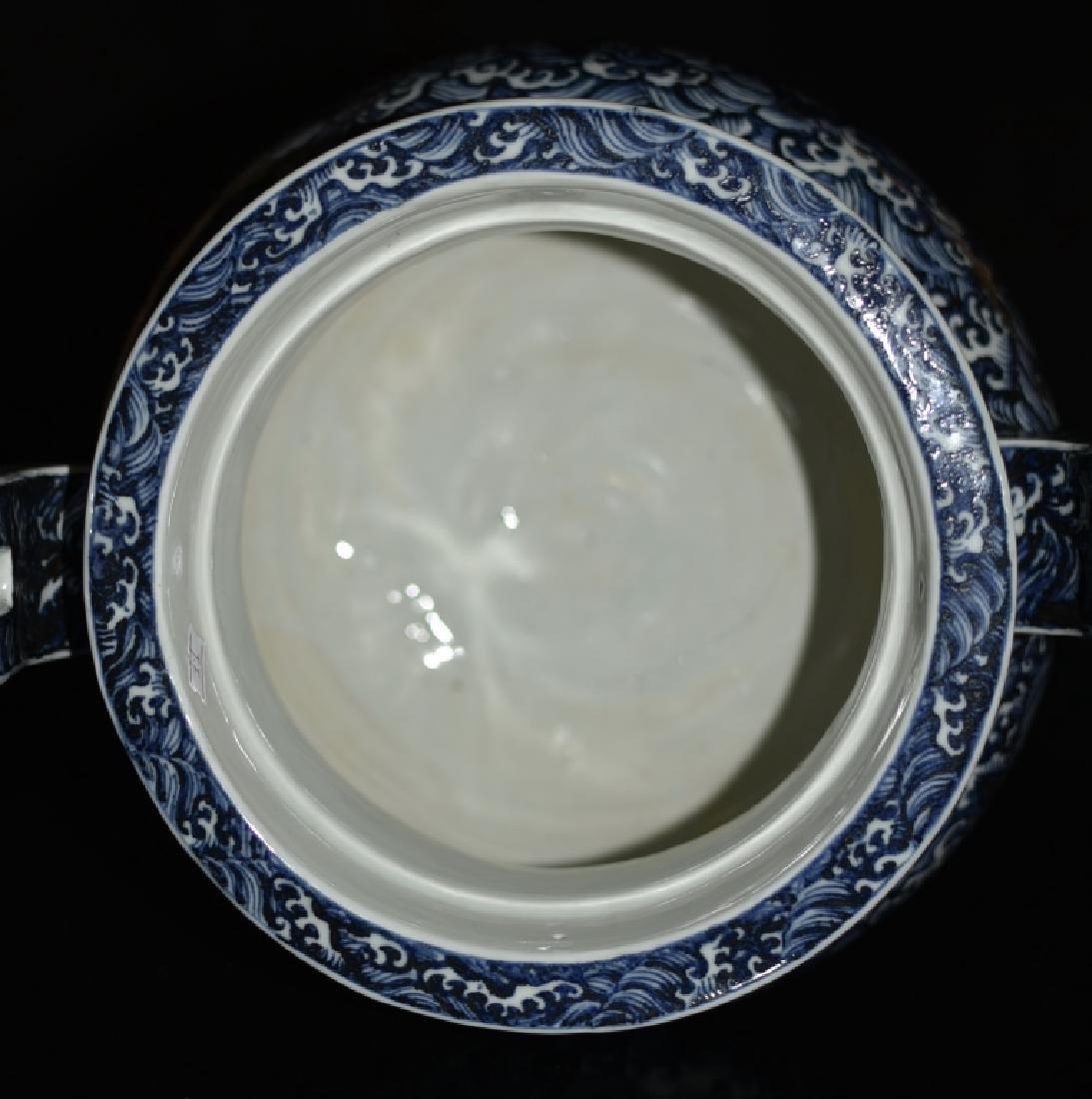 A BLUE AND WHITE TRIPOD CENSER - 7
