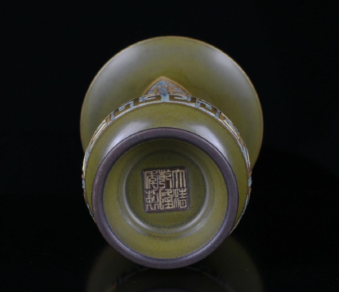 A TEA-COLOR GLAZED VASE - 4