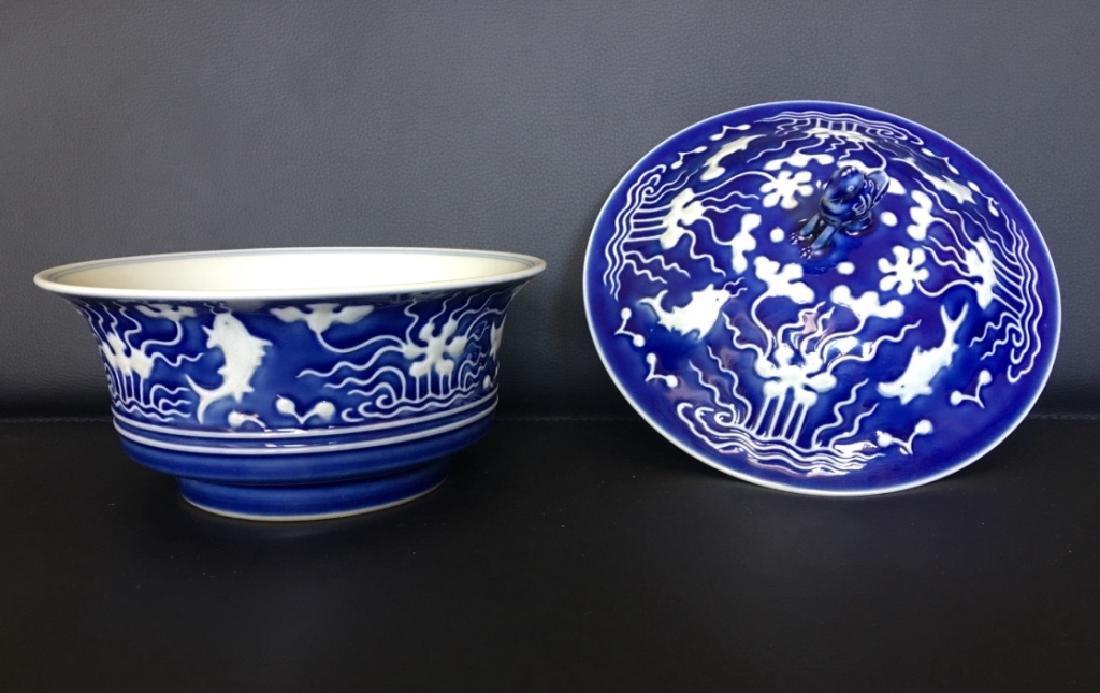 YONGZHENG MARK,A BLUE GLAZED BOWL WITH LID - 2