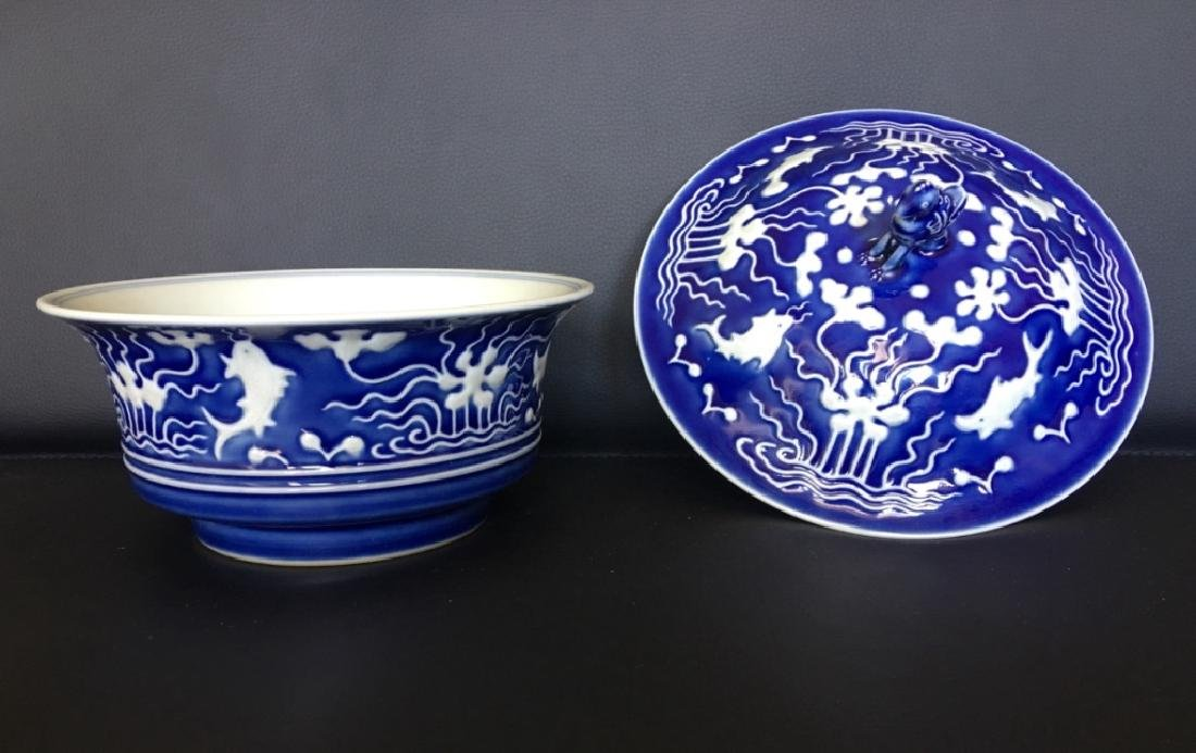 YONGZHENG MARK,A BLUE GLAZED BOWL WITH LID - 2