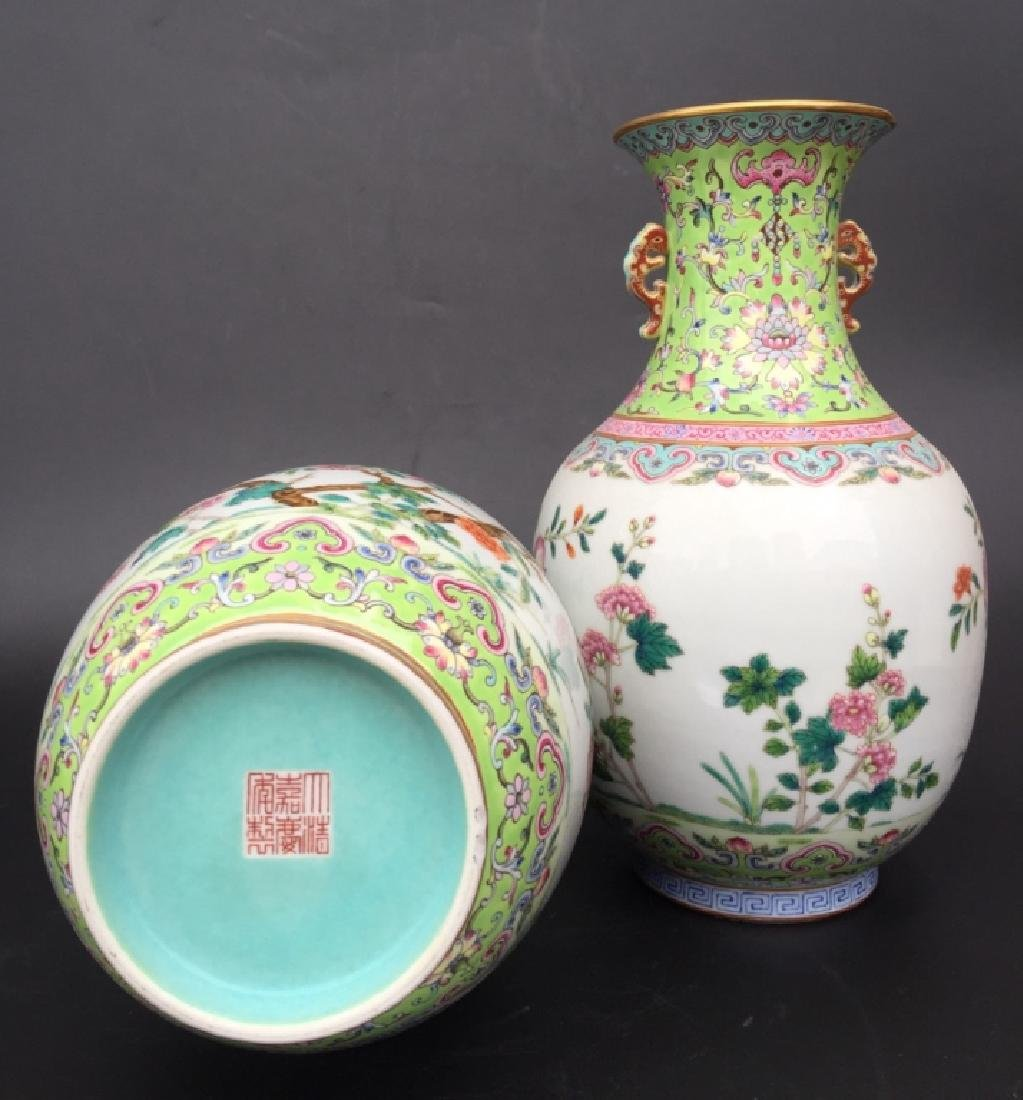 PAIR OF GREEN GROUND FAMILLE ROSE VASES - 4