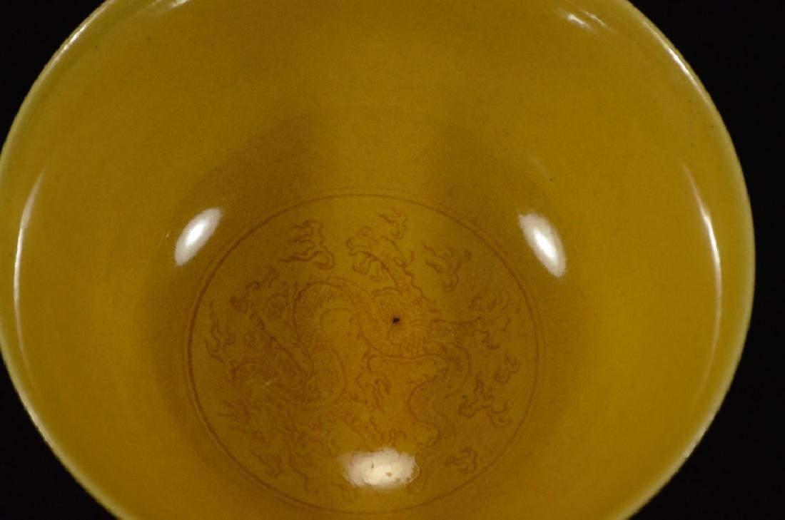 A YELLOW GLAZED BOWL WITH DRAGON PATTERN - 6
