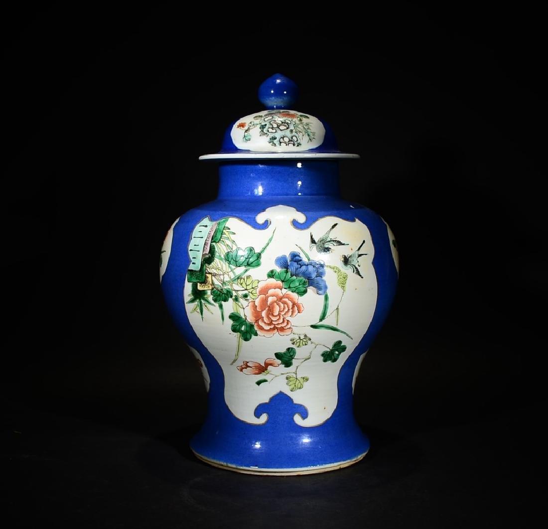 19TH C., QING D.,A BLUE GLAZED FAMILLE ROSE JAR