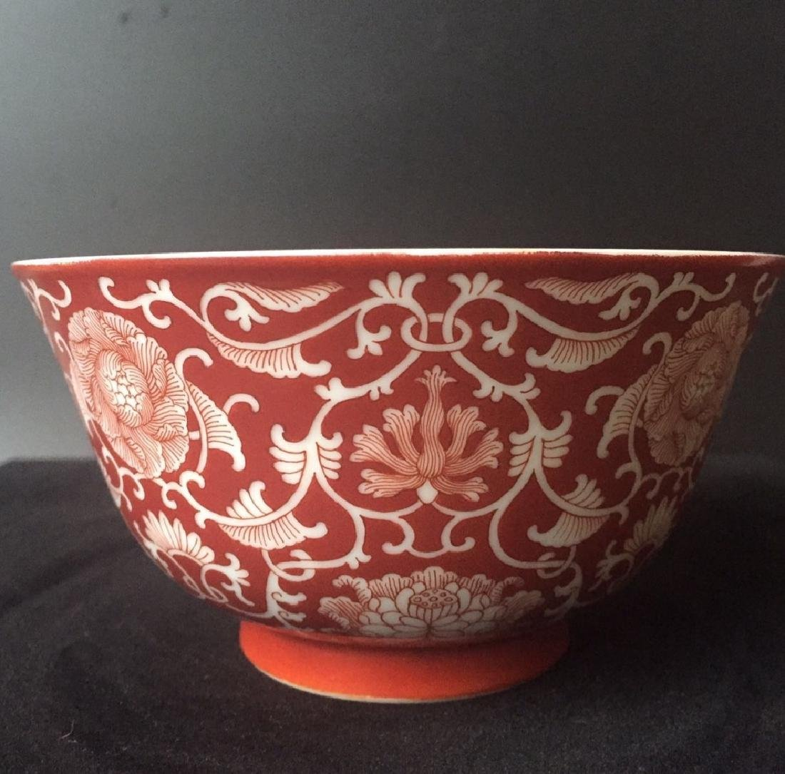 QIANLONG PERIOD CORAL RED GLAZED BOWL