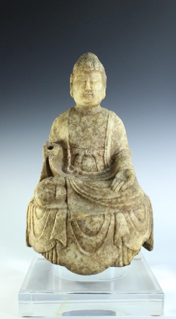 TANG D. WHITE MARBLE BUDDHA FIGURE