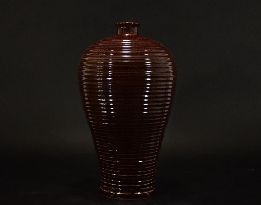 EARLY MING STYLE,RUBY RED RAISED LINE DESIGN MEIPING