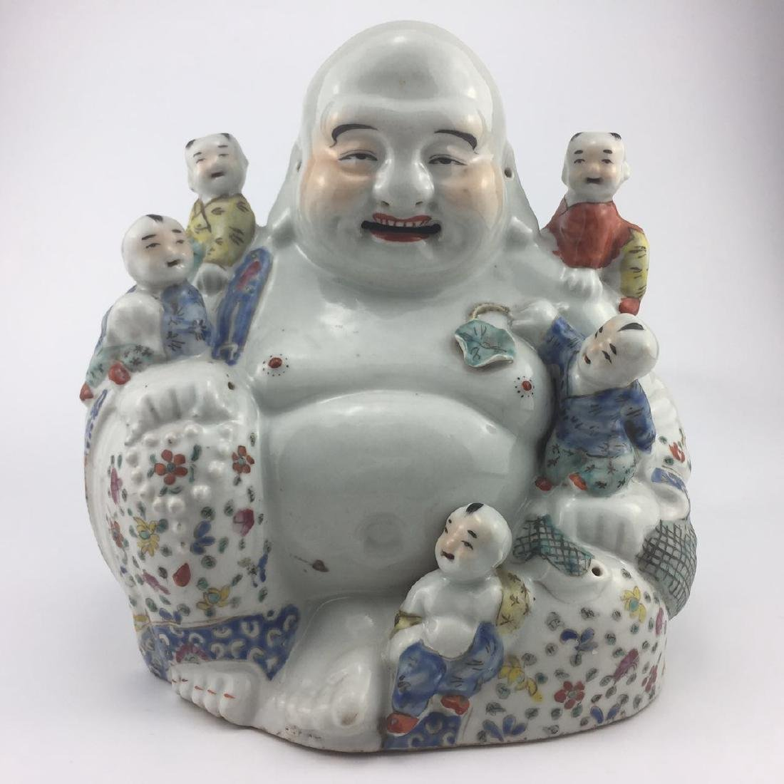 "19th Century Chinese Famille Rose ""WUZIDENGKE"" Statue"