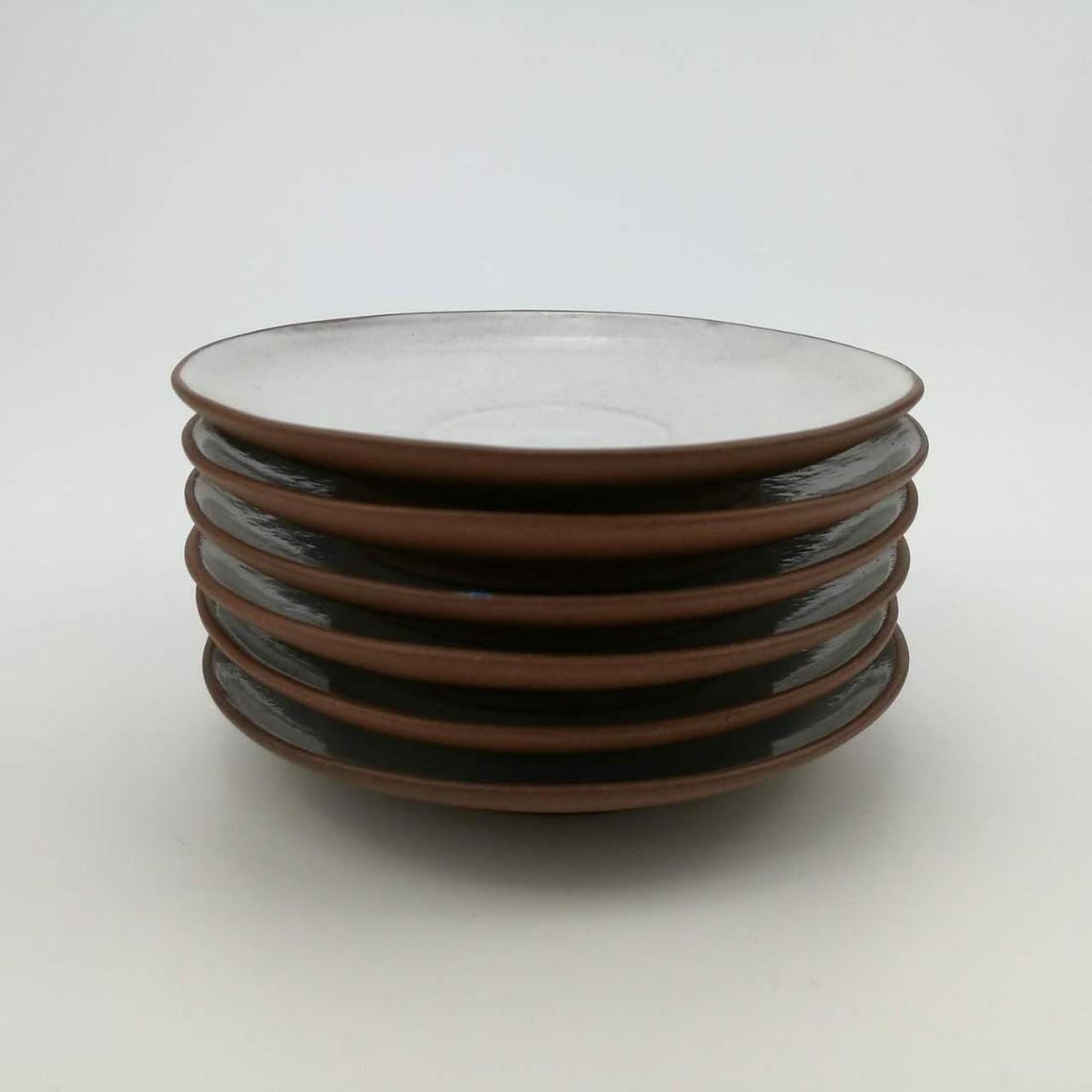 Antipue Chinese TIE HUA XUAN ZI-SHA 6 Pcs Plates