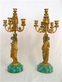 A Pair of Gilt Bronze Maidens