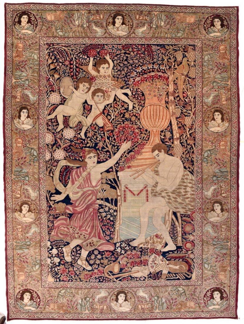 Extremely Fine Antique Persian Lavar Kerman Rug