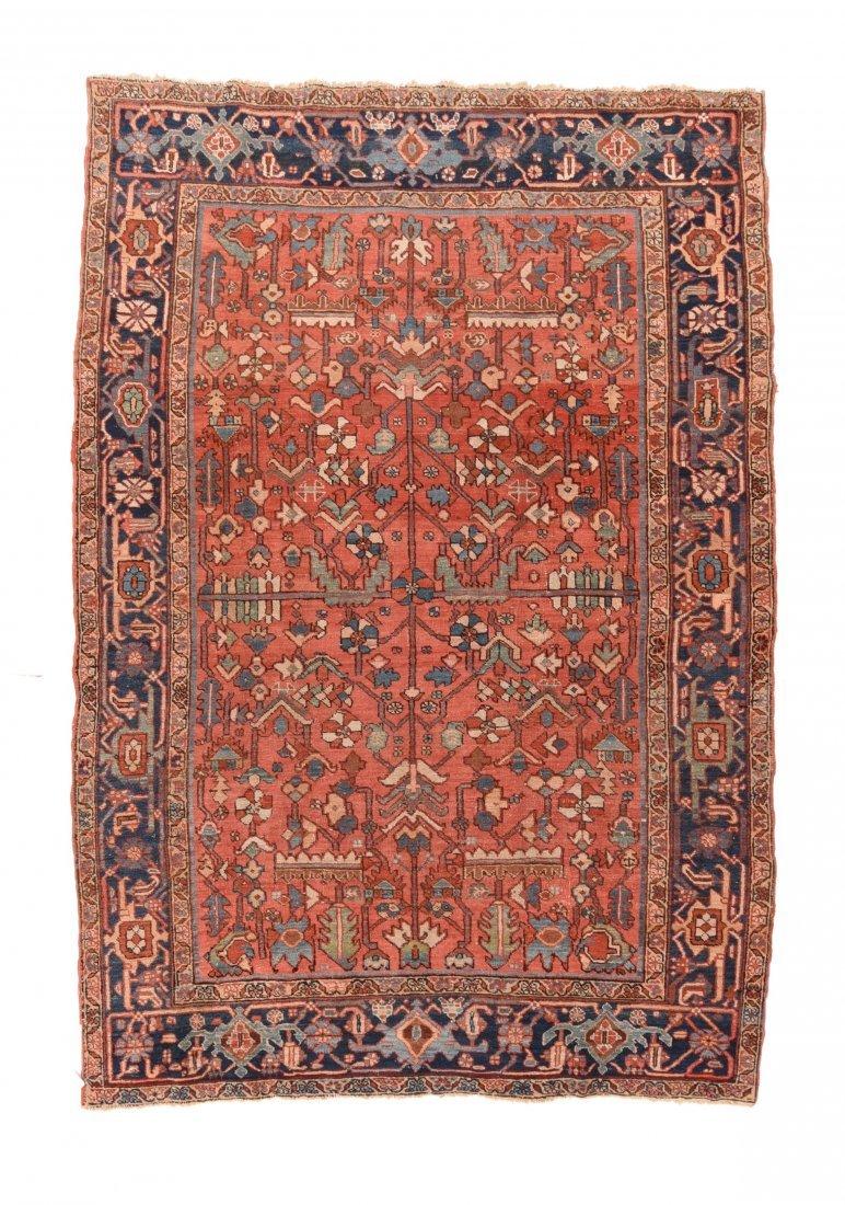 Antique Rust Heriz Persian Area Rug.