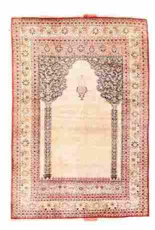 Antique Silk Tabriz Hajijalili, 4'0'' X 5'8''