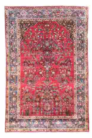 Antique Silk Kashan, 4'5'' X 6'6''