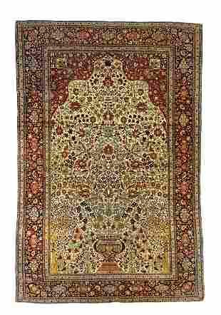 "Persian Mohtasham Kashan Rug, 4'1"" X 6'4"""