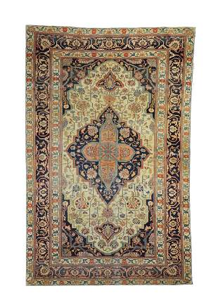 "Antique Persian Mohtasham Kashan, 4'3"" x 6'8"""