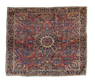 "Antique Persian Sarouk Rug, 3'8"" x 4'1"""