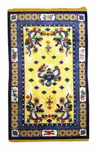 "Vintage Silk Chinese-Dragon Design, 4'10"" x 8'"