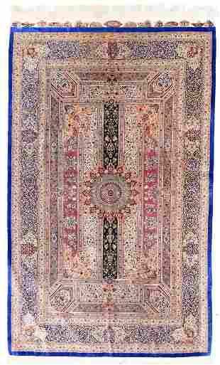 Extremely Fine Silk Persian Qum (Signed), 4'4'' x 6'11'