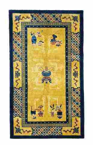 Vintage Silk Chinese Area Rug, 4' x 7'