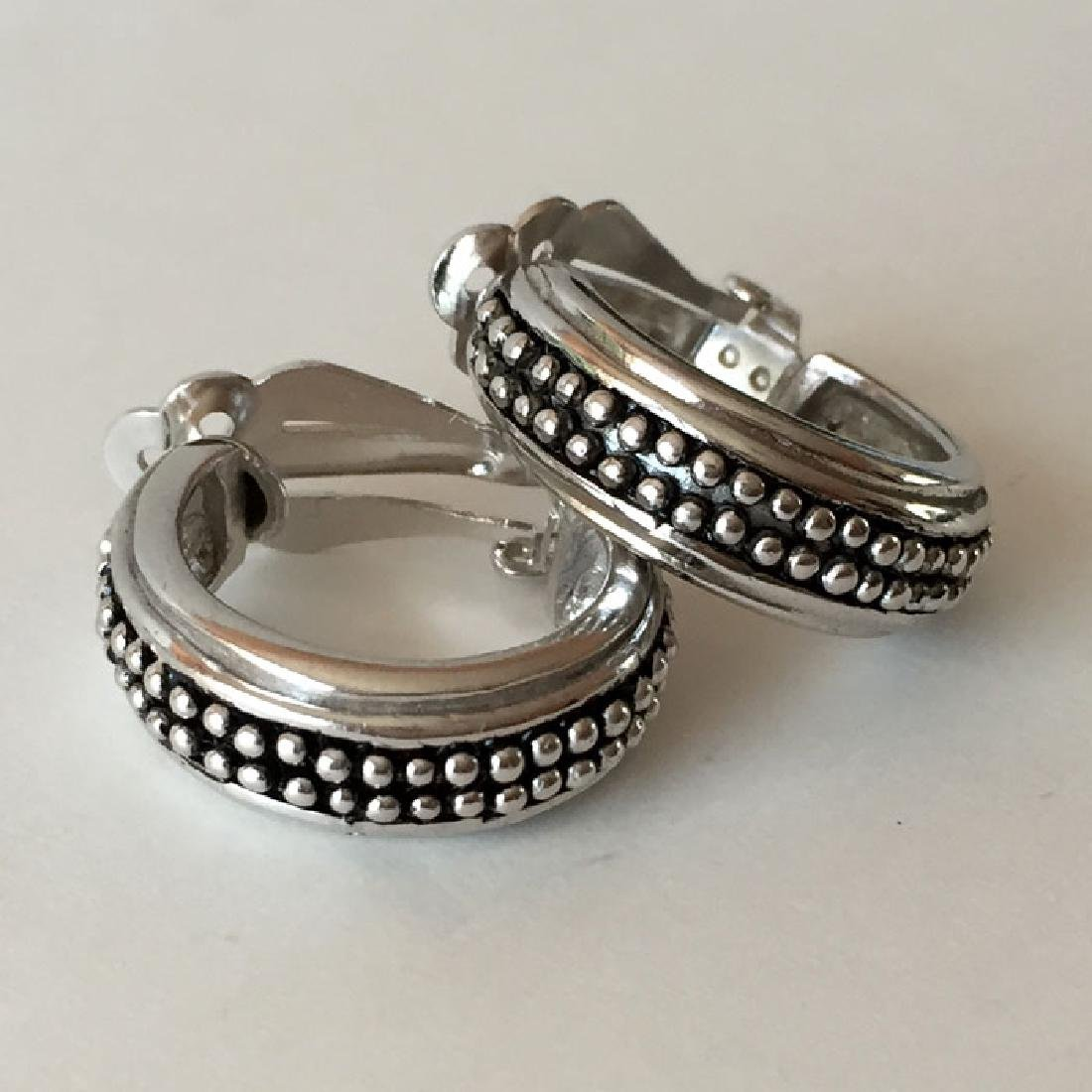 Sterling silver antique finish hoop ear clips