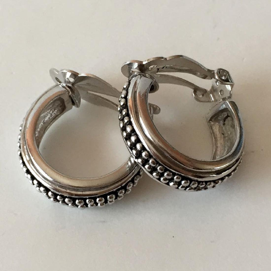 Sterling silver antique finish hoop ear clips - 2