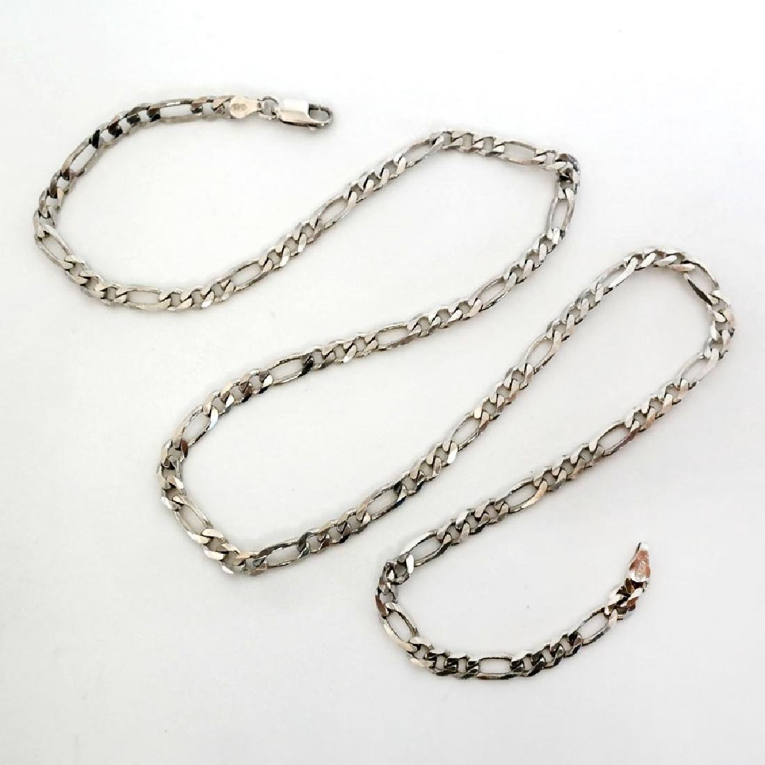 Sterling silver diamond cut Figaro link chain with