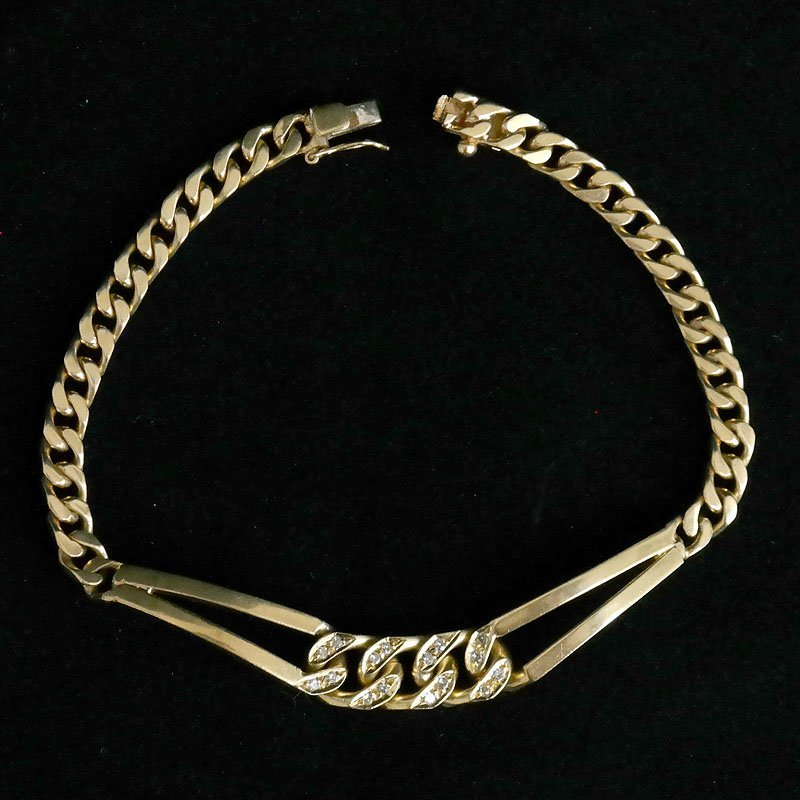 18k yellow gold CUBAN LUNK diamond bracelet
