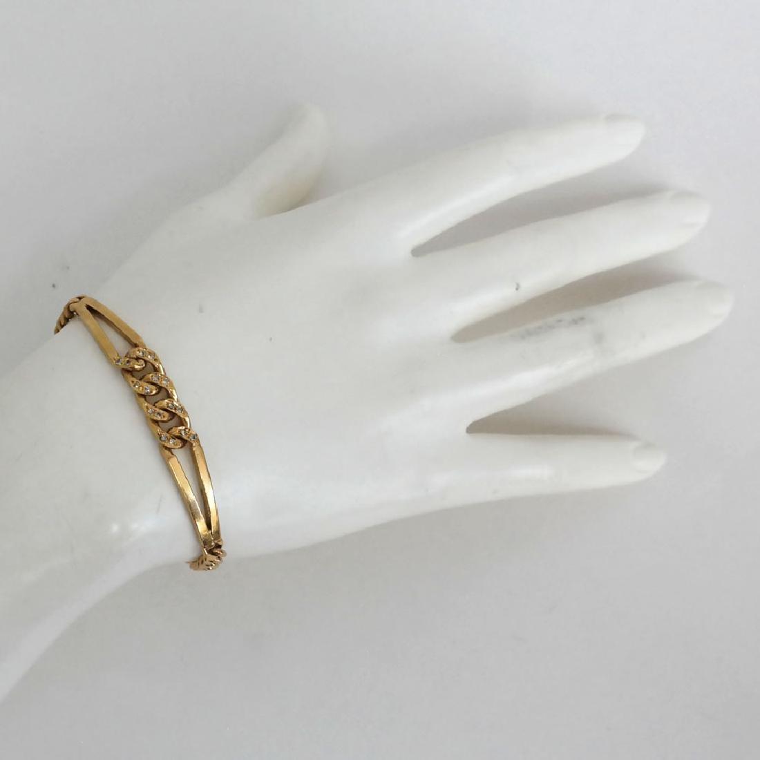 18k yellow gold CUBAN LUNK diamond bracelet - 4