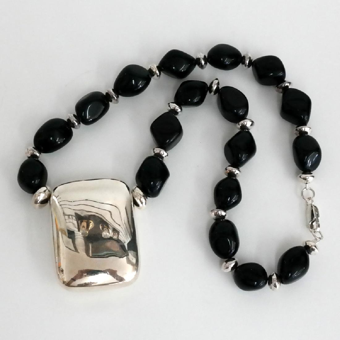 Black onyx free shape beads and sterling silver hollow - 2