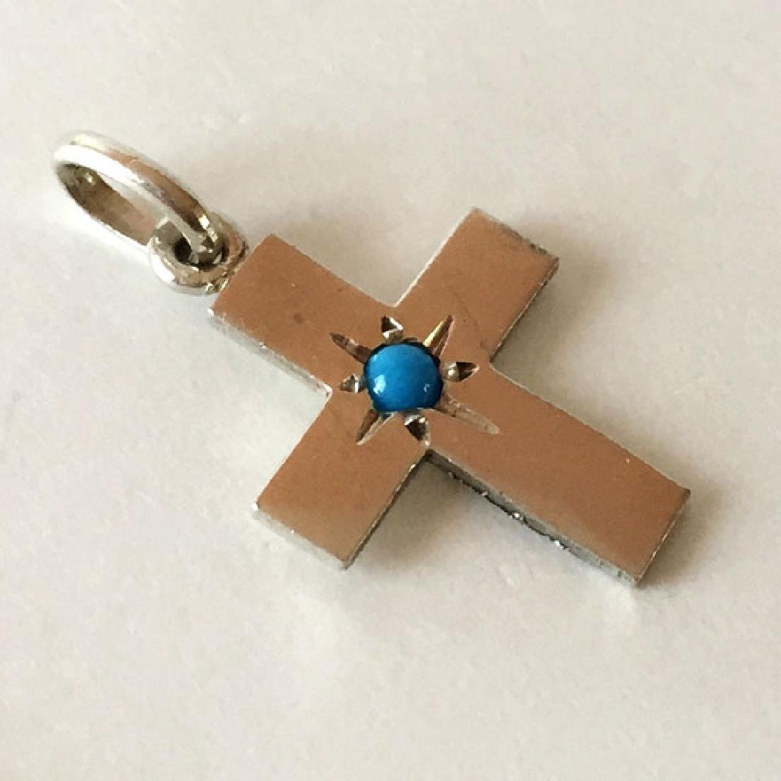 Sterling silver mini cross shape pendant with turquoise