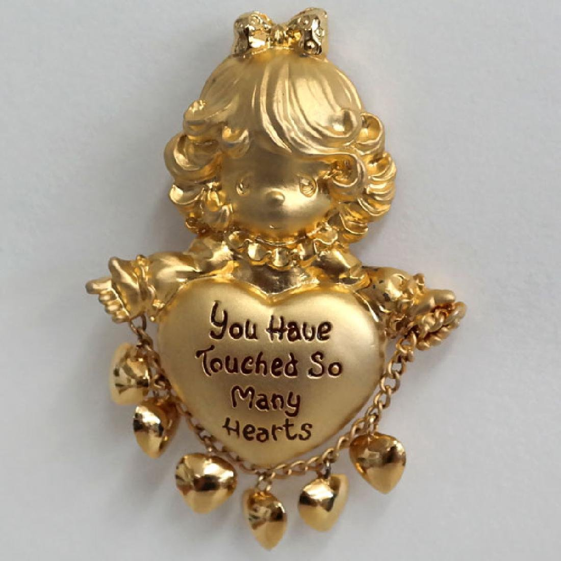 Gold plated satin and shiny finish SMALL GIRL shaped
