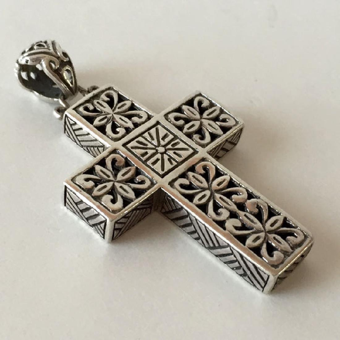 Sterling silver antique finish cross shape pendant